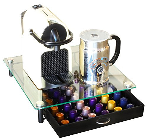 Deco Bros Crystal Tempered Glass Nespresso Original Line Storage Drawer Holder For Capsules