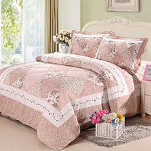 Cooperation 100% Cotton Floral Pink Hue Queen Size Patchwork Quilt Bedding Set 3pc