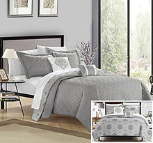 Chic Home 4 Piece Zoe Hexagon Embroidered Reversible Printed Backside Quilt Set, Twin, Grey