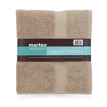 COMMERCIAL PREMIUM 6 PIECE BATH TOWEL SET BY MARTEX - 6 Bath Towels, Home, Business, Shower, Tub, Gym, Pool - Machine Washable, Absorbent, Professional Grade, Hotel Quality - KHAKI