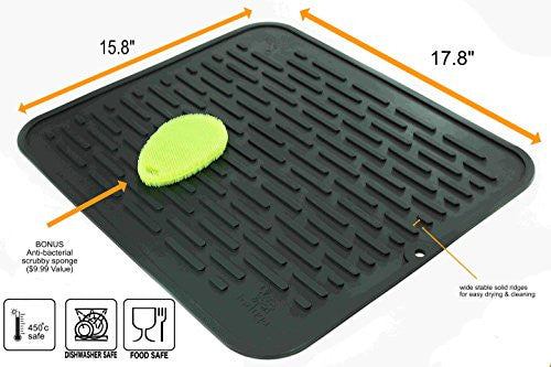 Xl Silicone Dish Drying Mat & Counter Protector And Stay Clean Scrubby | Hygienic, Antibacterial, Di