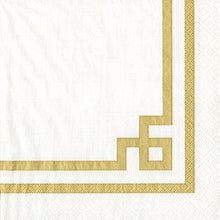 Caspari Luncheon Napkin, Rive Gauche Gold and White, 20-Pack