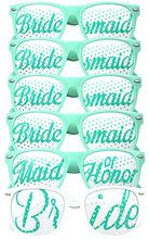 Bride Bridesmaid Glasses 6pc Set - Party Favors for Bridal Shower, Bachelorette Party & Wedding - 6 or 9 Pairs - Themed Novelty Sunglasses - Fun as Photo Booth Props Too! (6pc Set, Aqua)