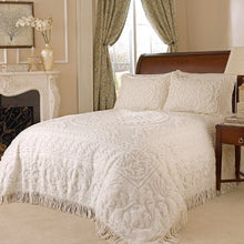 Beatrice Home Fashions Medallion Chenille Pillow Sham, Standard, Ivory