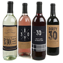 30th Milestone Birthday - Dashingly Aged to Perfection - Wine Bottle Labels Birthday Gift for Him -