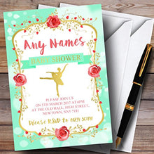 Green & Gold Ballerina Ballet Invitations Baby Shower Invitations