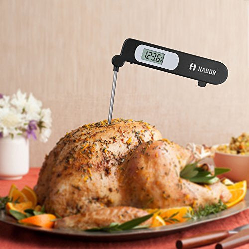 Habor Digital Meat Thermometer, Cooking Temperature Kitchen Instant Read Sensor With Largre Lcd, Fol