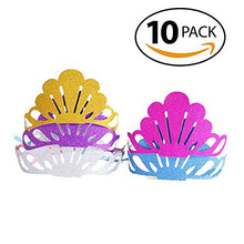 Biowow 10Pack Glitter Shell Crown Party Hats Birthday Hats Elastic Headband Adult & Kids Holiday Party Favors