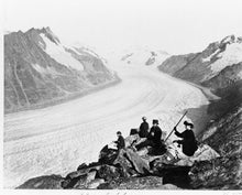 1800s photo Altsch Glacier graphic. Two men and two women seated on rocks nea a5