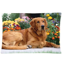 Custom Golden Retriever Dog in Spring Park Rectangular Pillow Case 20x30 Inches Creative Personalize