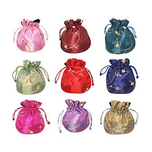 HOTER Silk Brocade Drawstring Jewelry Pouch, Set of 10, Random Color