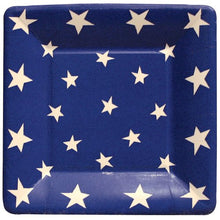 Caspari - Square Party  Paper Plates, Blue, White Stars, Pack of 8