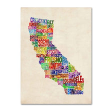 California Text Map by Michael Tompsett work, 16 by 24-Inch Canvas Wall Art