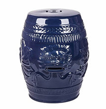 Abbyson Asian Lion Green Ceramic Garden Stool, Navy Blue