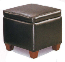 Coaster Home Furnishings Black Faux Leather Storage Ottoman Foot Stool Hassock