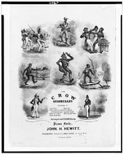 1837 Photo The crow quadrilles. Piano forte by John H. Hewitt / N. Currier's lith., N.Y. Music cover with eight vignettes of caricatures of blacks.