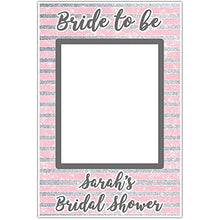 Bridal Shower Pink and Silver Sparkle Selfie Frame Social Media Photo Booth Prop Party Poster