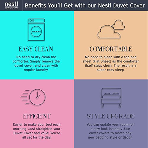 Nestl Bedding Duvet Cover 3 Piece Set   Ultra Soft Double Brushed Microfiber Hotel Collection   Comf