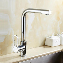 HomJo Kitchen Faucet Brass Ceramic Chrome Single Handle Tap Rotary Sink Mixer Tap