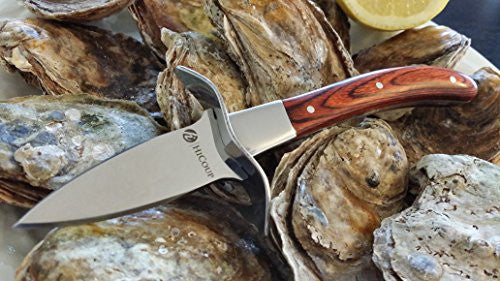 "Oyster Knife By Hi Coup   Premium Quality Pakka Wood Handle Oyster Shucking Knife With ""Full Tang"" Bl"