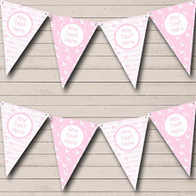 Pink Bows And Stork Girl Personalized Baby Shower Bunting Banner Garland