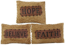 Craft Outlet Chenille Believe Hope Faith Pillow Set of 3, 12-Inch