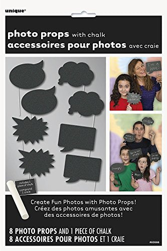 Unique Party Photo Booth Props with Chalk (8 Pack)