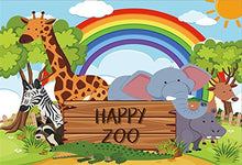 LFEEY 10x8ft Cartoon Zoo Photo Backdrop Elephant Giraffe Rainbow Baby Shower Photography Background Kids Children Birthday Party Photo Booth Props