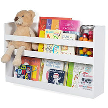 brightmaison Children's Kids Room White Floating Wall Shelf Wood Bunk Bed Decor Nursery Room Books and Toys Organization Storage Bookshelf Decor - Ships Assembled