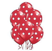 Sopeace 12 Inch Latex Balloons with White Polka Dots,  Red