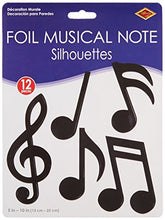 Beistle 55881 12-Pack Foil Musical Note Silhouettes Party Decorations, 5-Inch-10-Inch