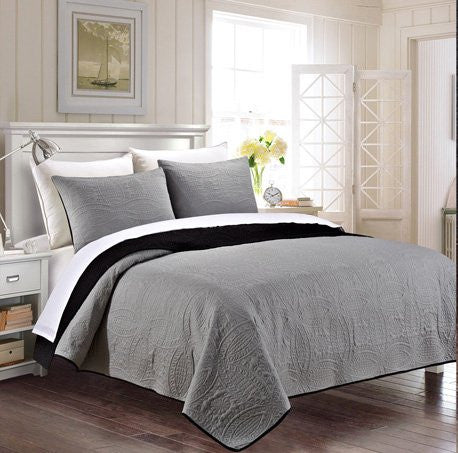 3 Piece Reversible King / Cal King Bedspread Black / Grey Coverlet Embossed Bed Cover Set