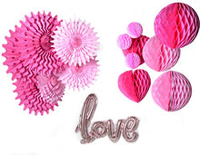PAPER JAZZ Pink Heart Honeycomb with Pompom Flower Lantern Paper Fan Love Balloon Valentine's Day Wedding Bridal Shower Engagement Decoration (Rose Gold)