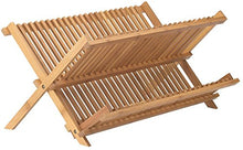 Neet Bamboo Dish Drying Rack | 2 Tier Folding Collapsible | 18.5
