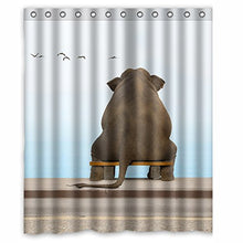 An Elephant sits on a bench Printed 150x180 cm Waterproof Polyester Fabric Shower Curtain