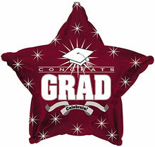 Star Shape Graduation Balloons School Colors - 5 Count (Maroon)