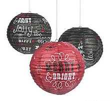 3 BIG Chalkboard Christmas Print Paper Lanterns Holiday Party Decor