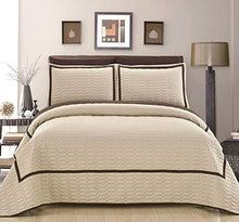 Chic Home 2 Piece Birmingham Hotel Collection 2 Tone Banded Geometrical Embroidered, Twin Quilt Set Beige