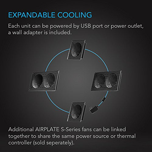 "Ac Infinity Airplate S3, Quiet Cooling Fan System 6"" With Speed Control, For Home Theater Av Cabinet"