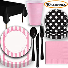 Disposable Tableware, 40 Sets - Lovely Pink and Midnight Black - Striped Dinner Plates, Dotted Dessert Plates, Cups, Lunch Napkins, Cutlery, and Tablecloths: Premium Quality Party Supplies Set