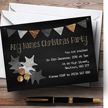 Chalk Golden Holly Personalized Christmas/New Year/Holiday Party Invitations