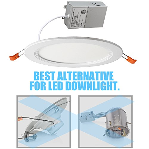 THKSGOD Slim Downlight 6 Inch Dimmable 12W (=100W) Led Downlight 950LM 3000K Warm White cETLus Listed Recessed Trim Ceiling Light Fixture 4 Pack 3000K Warmlight