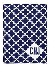 Personalized Keyhole Cross Knit Throw Blanket in Navy