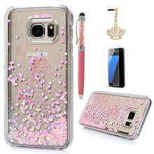 S7 Case,Samsung Galaxy S7 Case - Flowing Liquid Floating Bling Glitter Sparkle Pink Love Hearts Hard