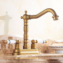 Basin Sink Mixer Tap European Antique Faucet Copper Double Double Basin To Wash Basin Basin Faucet Retro Rotation