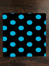 Blue / Teal Polka Dot Polka Dots Black Background One Piece Premium Ceramic Tile Coaster 4.25