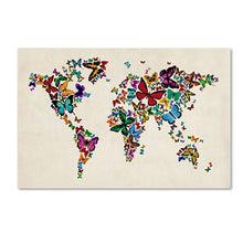 Butterflies Map of The World II Artwork by Michael Tompsett, 22 by 32-Inch Canvas Wall Art