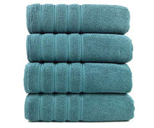 Classic Turkish Towels Premium Hotel and Spa Bath Towel 4 Piece Set - Heavy Duty and Fast Drying Bathroom Towels - 27 x 54 Inch Made with 100% Turkish Cotton (Blue)