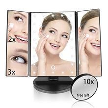 Lighted Makeup Mirror, Eloki 22 Led Trifold Vanity Mirror With Lights, 3 X 2 X 1 X Magnification Touch
