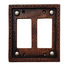 Tooled Leather Floral Design with Rivets Resin Double Rocker Switch Cover Plate